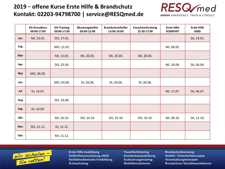 Termine für Erste Hilfe und Brandschutz Kurse in 2019 für einzelne Teilnehmer am Standort Köln. Terminanfragen telefonisch unter 02203 94798700