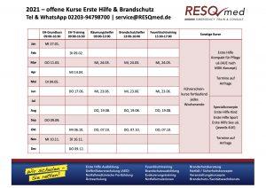 2021 Kurstermine Erste Hilfe / Brandschutz